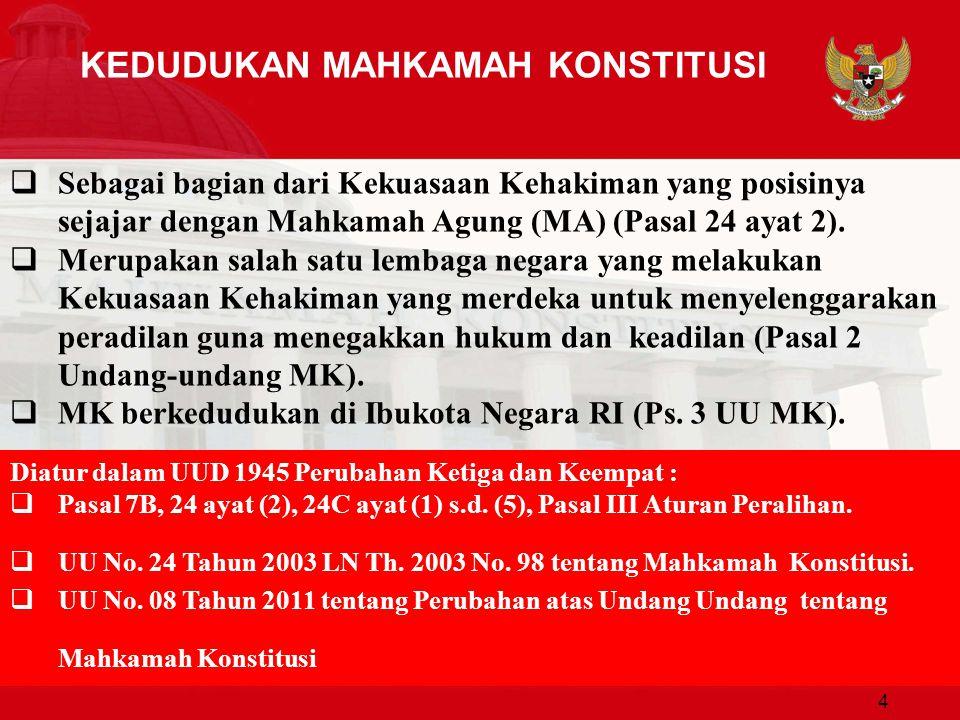 Fungsi Mahkamah Konstitusi Mekanisme Judicial Control berdasarkan Norma Dasar (Basic Norm) dalam UUD NRI 1945; Peradilan dengan kewenangan untuk mengadili pada tingkat pertama dan terakhir; Putusan bersifat Final dan Mengikat, tidak ada upaya Hukum