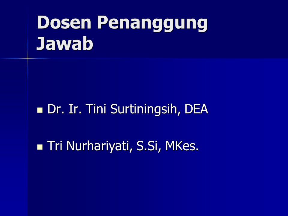 Dosen Penanggung Jawab Dr. Ir. Tini Surtiningsih, DEA Dr. Ir. Tini Surtiningsih, DEA Tri Nurhariyati, S.Si, MKes. Tri Nurhariyati, S.Si, MKes.