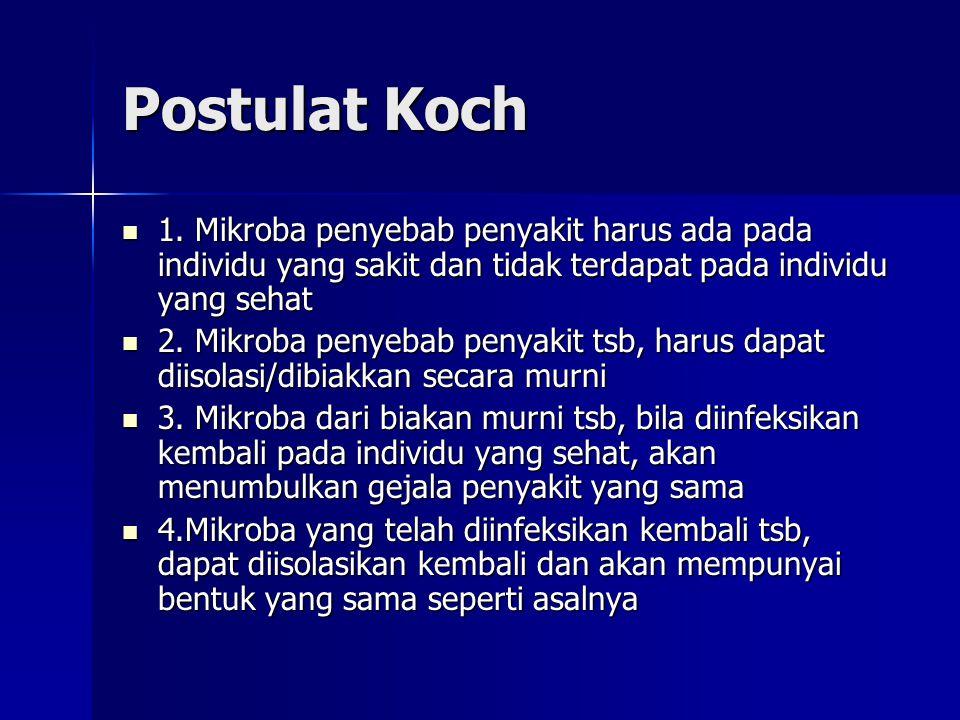 Postulat Koch 1. Mikroba penyebab penyakit harus ada pada individu yang sakit dan tidak terdapat pada individu yang sehat 1. Mikroba penyebab penyakit
