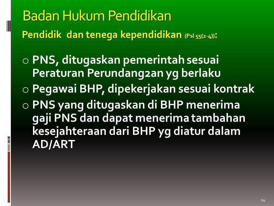 14 Pendidik dan tenega kependidikan (Psl 55(2-4)) : o PNS, ditugaskan pemerintah sesuai Peraturan Perundang2an yg berlaku o Pegawai BHP, dipekerjakan