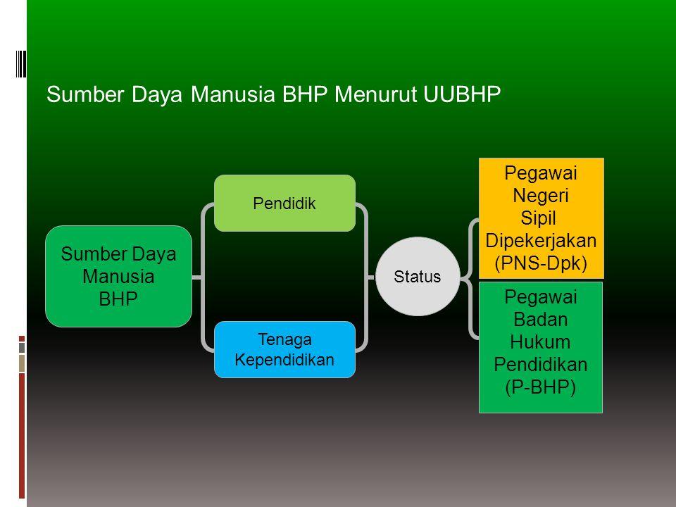 Sumber Daya Manusia BHP Tenaga Kependidikan Pendidik Status Pegawai Negeri Sipil Dipekerjakan (PNS-Dpk) Pegawai Badan Hukum Pendidikan (P-BHP) Sumber Daya Manusia BHP Menurut UUBHP