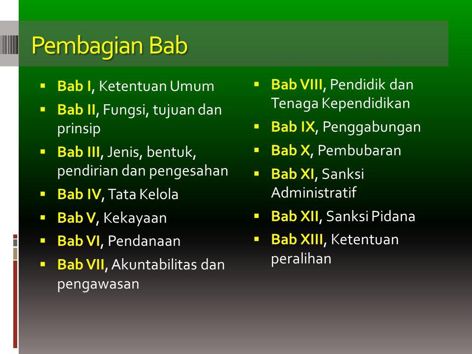 Pembagian Bab  Bab I, Ketentuan Umum  Bab II, Fungsi, tujuan dan prinsip  Bab III, Jenis, bentuk, pendirian dan pengesahan  Bab IV, Tata Kelola 