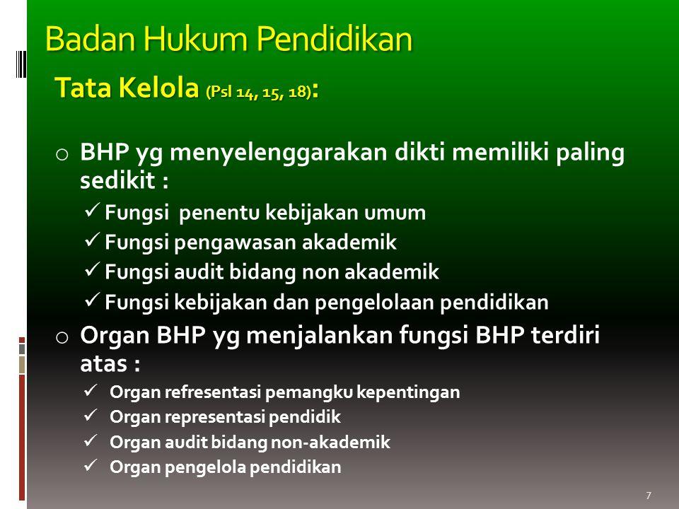 7 Tata Kelola (Psl 14, 15, 18) : o BHP yg menyelenggarakan dikti memiliki paling sedikit : Fungsi penentu kebijakan umum Fungsi pengawasan akademik Fu