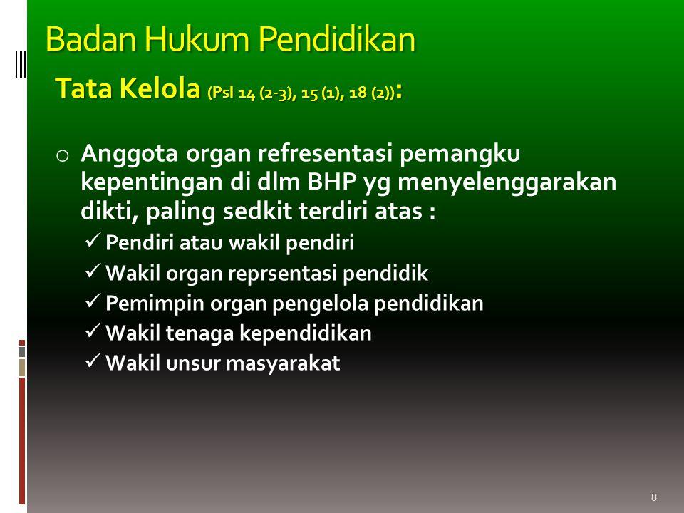 8 Tata Kelola (Psl 14 (2-3), 15 (1), 18 (2)) : o Anggota organ refresentasi pemangku kepentingan di dlm BHP yg menyelenggarakan dikti, paling sedkit t