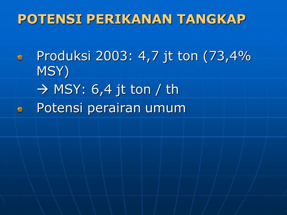POTENSI PERIKANAN TANGKAP Produksi 2003: 4,7 jt ton (73,4% MSY)  MSY: 6,4 jt ton / th Potensi perairan umum
