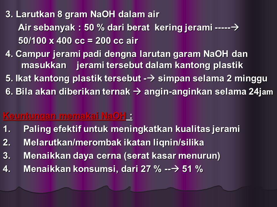 Kerugian memakai NaOH : Harga mahal dan sulit didapat di desa Harga mahal dan sulit didapat di desa dalam tubuh ----  mengganggu dalam tubuh ----  mengganggu keseimbangan mineral lain keseimbangan mineral lain 2.