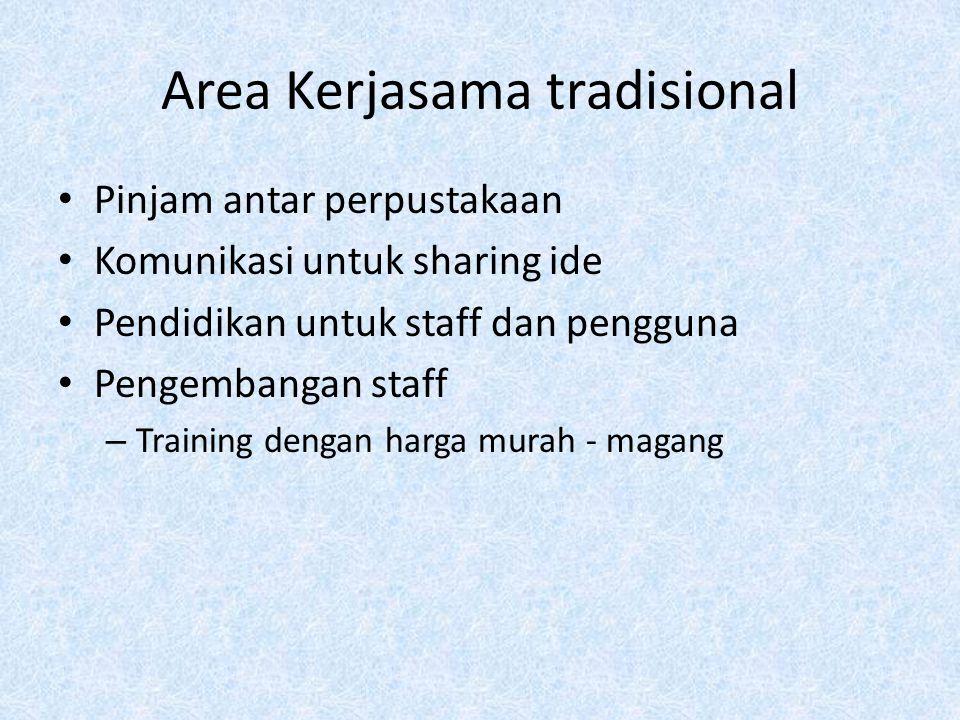 Area Kerjasama tradisional Pinjam antar perpustakaan Komunikasi untuk sharing ide Pendidikan untuk staff dan pengguna Pengembangan staff – Training de