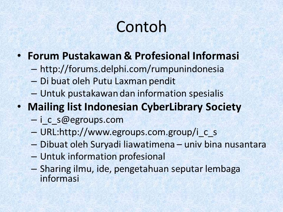Contoh Forum Pustakawan & Profesional Informasi – http://forums.delphi.com/rumpunindonesia – Di buat oleh Putu Laxman pendit – Untuk pustakawan dan in