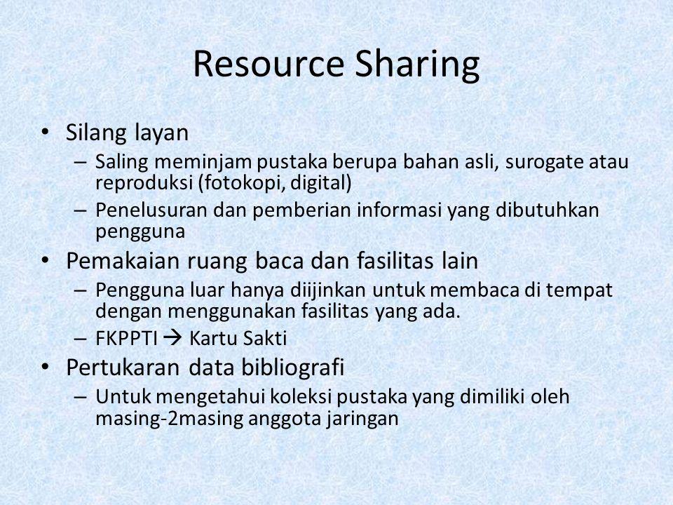 Resource Sharing Silang layan – Saling meminjam pustaka berupa bahan asli, surogate atau reproduksi (fotokopi, digital) – Penelusuran dan pemberian in
