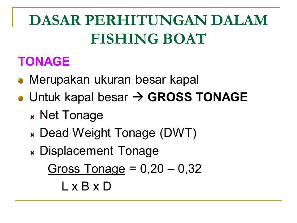 DASAR PERHITUNGAN DALAM FISHING BOAT TONAGE Merupakan ukuran besar kapal Untuk kapal besar  GROSS TONAGE Net Tonage Dead Weight Tonage (DWT) Displace