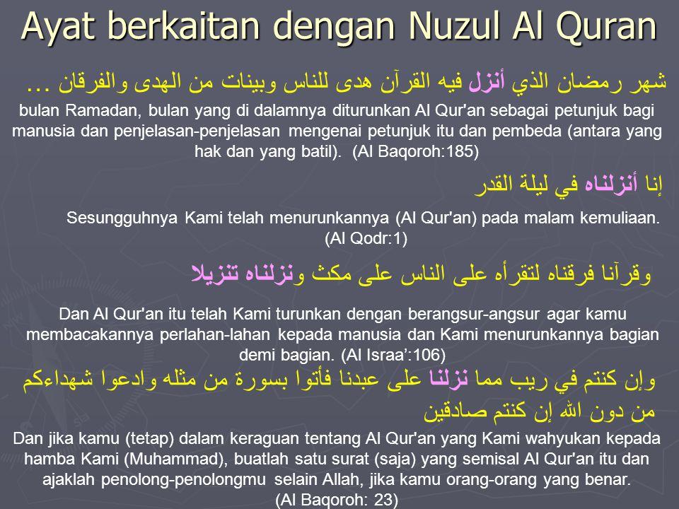 Ayat berkaitan dengan Nuzul Al Quran … شهر رمضان الذي أنزل فيه القرآن هدى للناس وبينات من الهدى والفرقان bulan Ramadan, bulan yang di dalamnya diturun