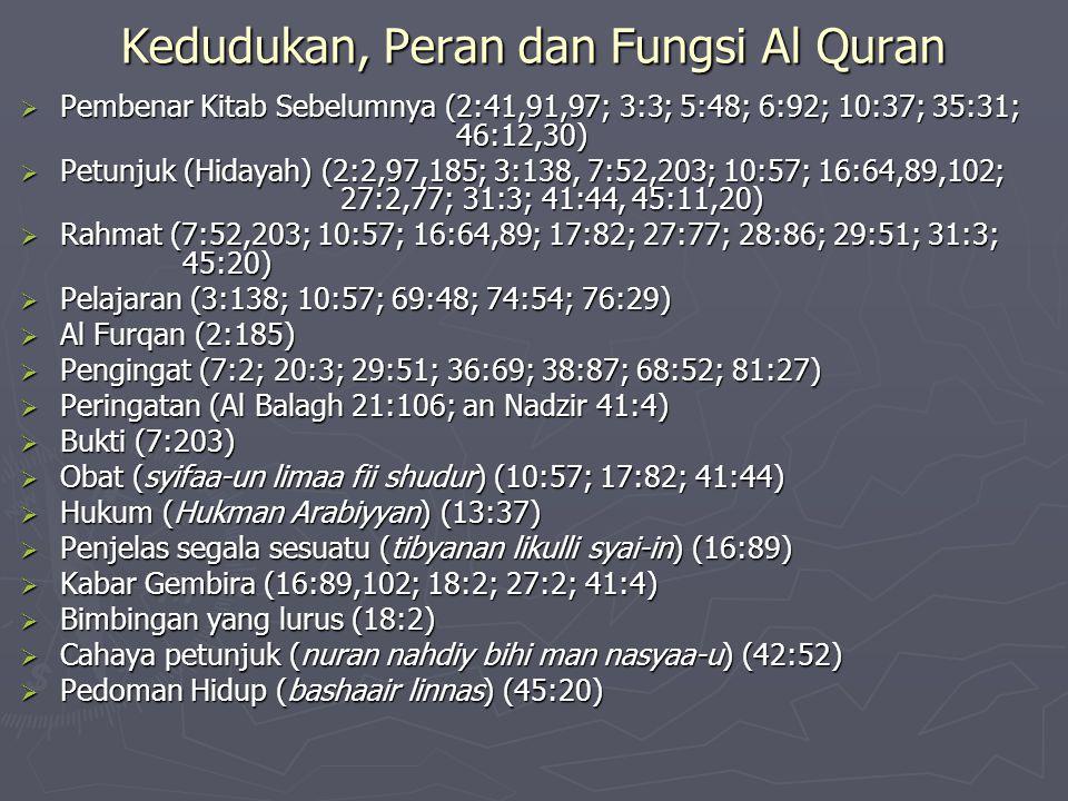 Kedudukan, Peran dan Fungsi Al Quran  Pembenar Kitab Sebelumnya (2:41,91,97; 3:3; 5:48; 6:92; 10:37; 35:31; 46:12,30)  Petunjuk (Hidayah) (2:2,97,185; 3:138, 7:52,203; 10:57; 16:64,89,102; 27:2,77; 31:3; 41:44, 45:11,20)  Rahmat (7:52,203; 10:57; 16:64,89; 17:82; 27:77; 28:86; 29:51; 31:3; 45:20)  Pelajaran (3:138; 10:57; 69:48; 74:54; 76:29)  Al Furqan (2:185)  Pengingat (7:2; 20:3; 29:51; 36:69; 38:87; 68:52; 81:27)  Peringatan (Al Balagh 21:106; an Nadzir 41:4)  Bukti (7:203)  Obat (syifaa-un limaa fii shudur) (10:57; 17:82; 41:44)  Hukum (Hukman Arabiyyan) (13:37)  Penjelas segala sesuatu (tibyanan likulli syai-in) (16:89)  Kabar Gembira (16:89,102; 18:2; 27:2; 41:4)  Bimbingan yang lurus (18:2)  Cahaya petunjuk (nuran nahdiy bihi man nasyaa-u) (42:52)  Pedoman Hidup (bashaair linnas) (45:20)