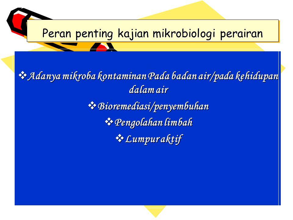 Peran penting kajian mikrobiologi perairan  Adanya mikroba kontaminan Pada badan air/pada kehidupan dalam air  Bioremediasi/penyembuhan  Pengolahan