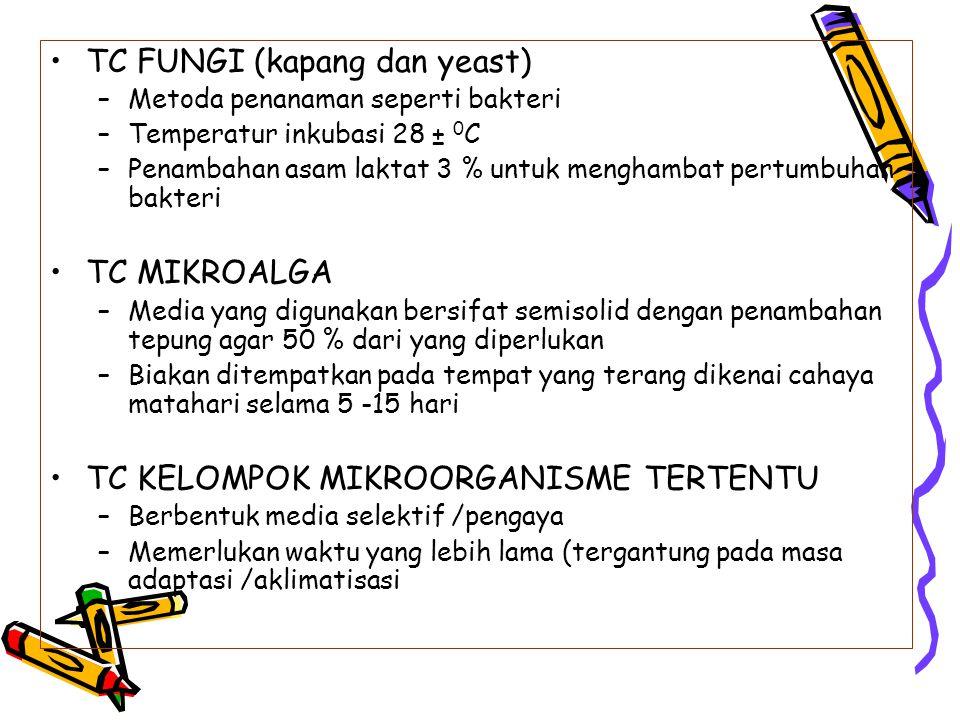 TC FUNGI (kapang dan yeast) –Metoda penanaman seperti bakteri –Temperatur inkubasi 28 ± 0 C –Penambahan asam laktat 3 % untuk menghambat pertumbuhan b