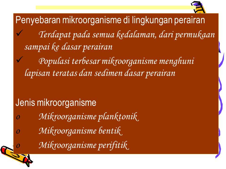 Analisis kondisi perairan secara mikrobiologis –Pencemaran kotoran manusia MPN coliform fecal/non fecal Deteksi mikroba patogen –Pencemaran limbah domistik MPN mikroba selulolitik/proteolitik/lipolitik/deterjen –Pencemaran limbah industri MPN bakteri hidrokarbonoklastik MPN bakteri pendegradasi logam berat METODA ANALISA AIR