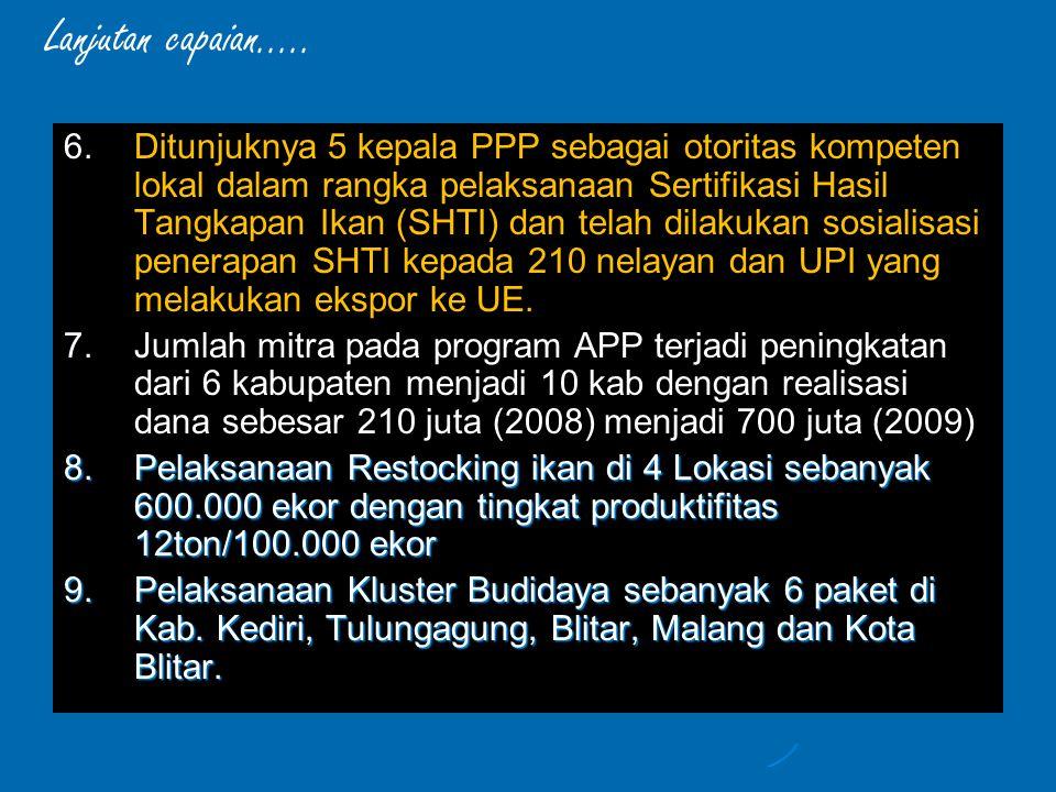 6. 6.Ditunjuknya 5 kepala PPP sebagai otoritas kompeten lokal dalam rangka pelaksanaan Sertifikasi Hasil Tangkapan Ikan (SHTI) dan telah dilakukan sos