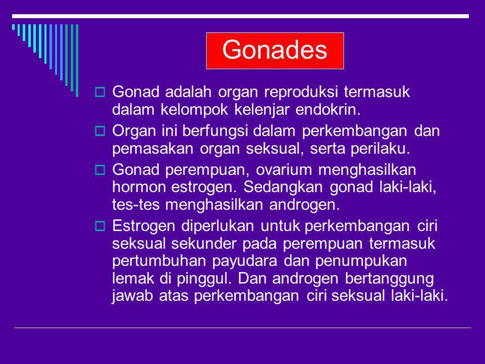 Gonades  Gonad adalah organ reproduksi termasuk dalam kelompok kelenjar endokrin.  Organ ini berfungsi dalam perkembangan dan pemasakan organ seksua