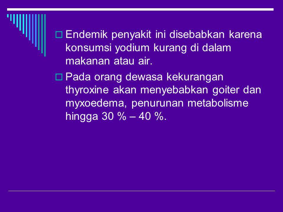  Endemik penyakit ini disebabkan karena konsumsi yodium kurang di dalam makanan atau air.  Pada orang dewasa kekurangan thyroxine akan menyebabkan g