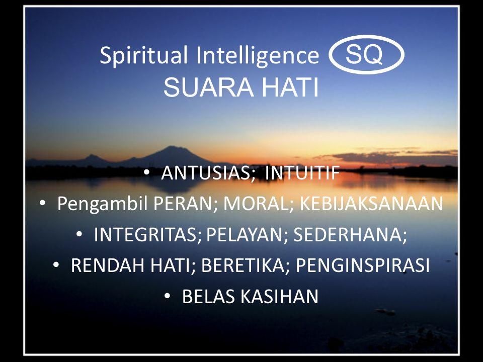 Spiritual Intelligence SQ SUARA HATI ANTUSIAS; INTUITIF Pengambil PERAN; MORAL; KEBIJAKSANAAN INTEGRITAS; PELAYAN; SEDERHANA; RENDAH HATI; BERETIKA; PENGINSPIRASI BELAS KASIHAN