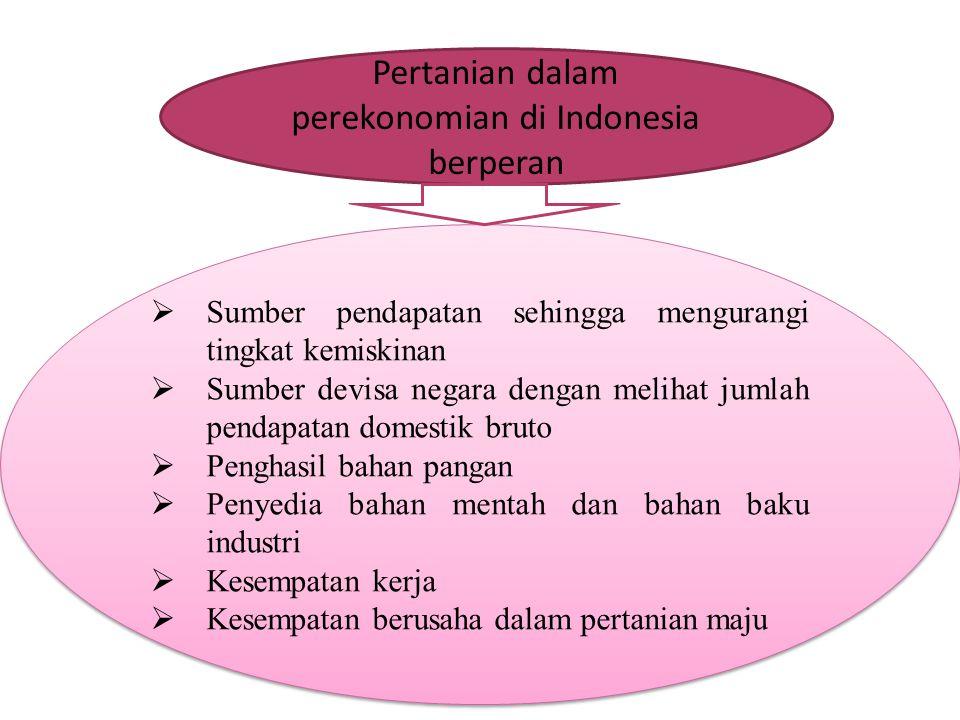 Pertanian dalam perekonomian di Indonesia berperan  Sumber pendapatan sehingga mengurangi tingkat kemiskinan  Sumber devisa negara dengan melihat ju