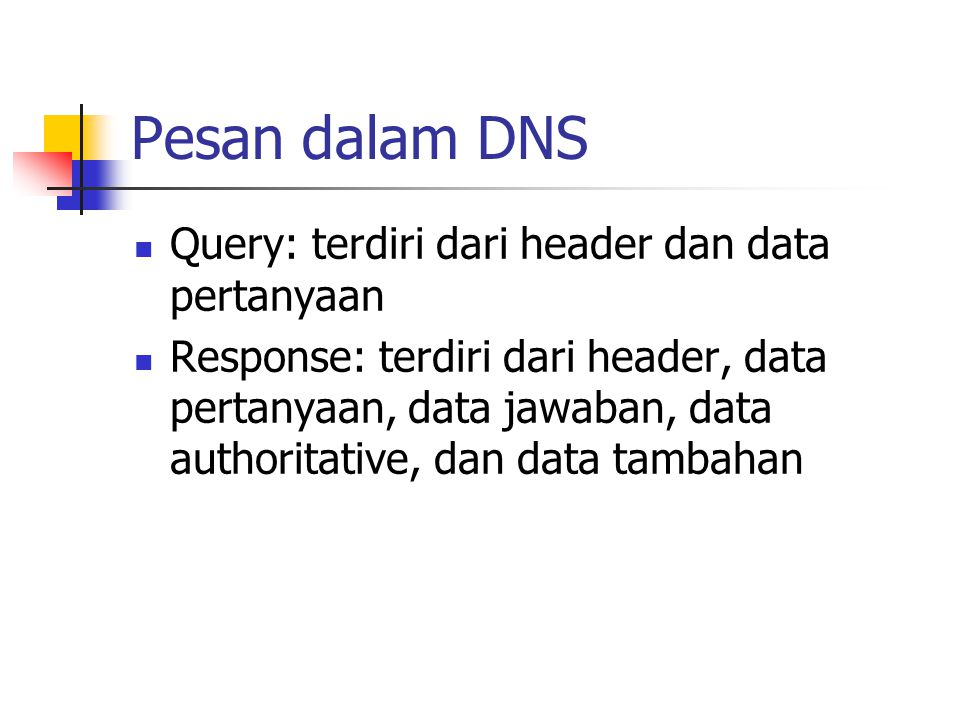 Pesan dalam DNS Query: terdiri dari header dan data pertanyaan Response: terdiri dari header, data pertanyaan, data jawaban, data authoritative, dan d