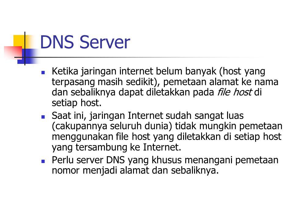 DNS Server Ketika jaringan internet belum banyak (host yang terpasang masih sedikit), pemetaan alamat ke nama dan sebaliknya dapat diletakkan pada fil