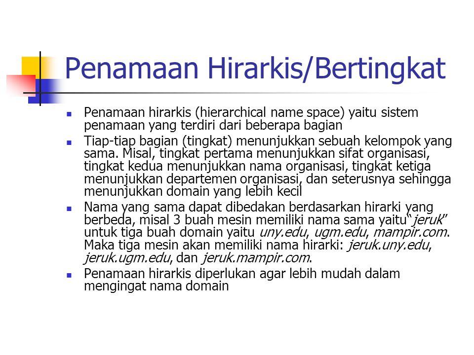 Penamaan Hirarkis/Bertingkat Penamaan hirarkis (hierarchical name space) yaitu sistem penamaan yang terdiri dari beberapa bagian Tiap-tiap bagian (tin