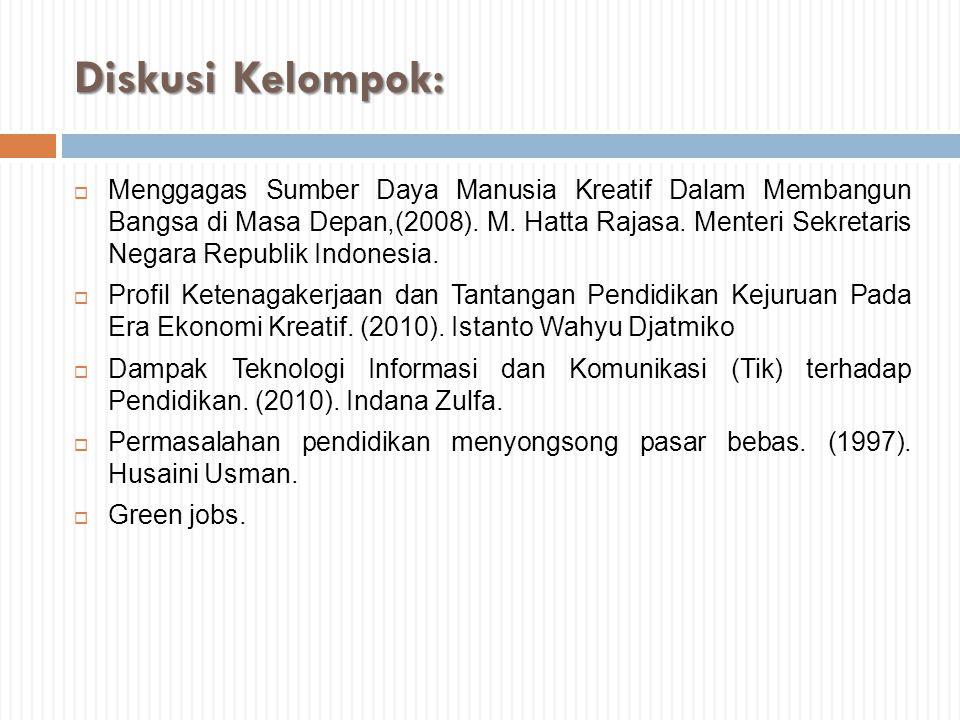 Diskusi Kelompok:  Menggagas Sumber Daya Manusia Kreatif Dalam Membangun Bangsa di Masa Depan,(2008). M. Hatta Rajasa. Menteri Sekretaris Negara Repu