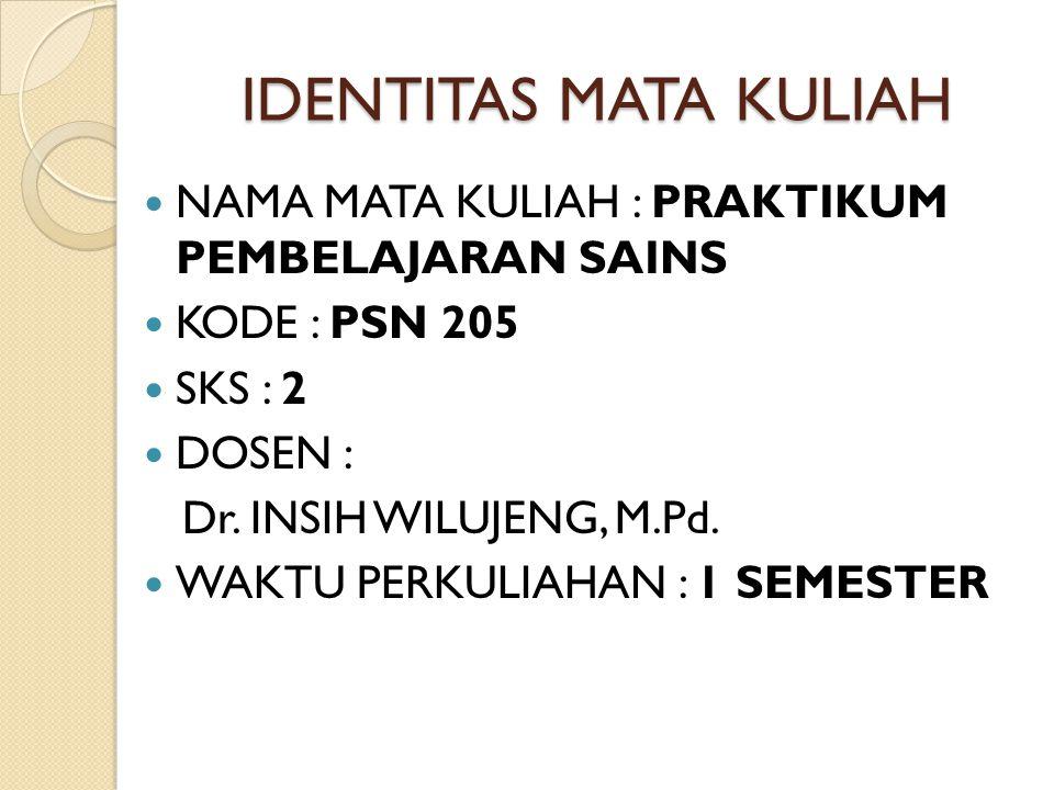 IDENTITAS MATA KULIAH NAMA MATA KULIAH : PRAKTIKUM PEMBELAJARAN SAINS KODE : PSN 205 SKS : 2 DOSEN : Dr. INSIH WILUJENG, M.Pd. WAKTU PERKULIAHAN : 1 S