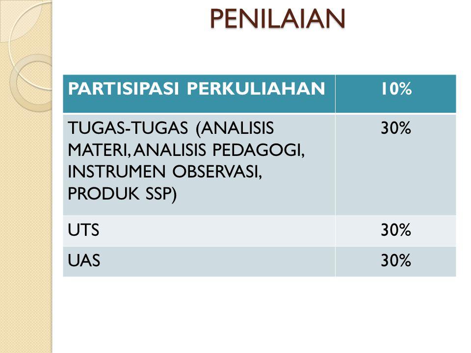 PENILAIAN PARTISIPASI PERKULIAHAN10% TUGAS-TUGAS (ANALISIS MATERI, ANALISIS PEDAGOGI, INSTRUMEN OBSERVASI, PRODUK SSP) 30% UTS30% UAS30%