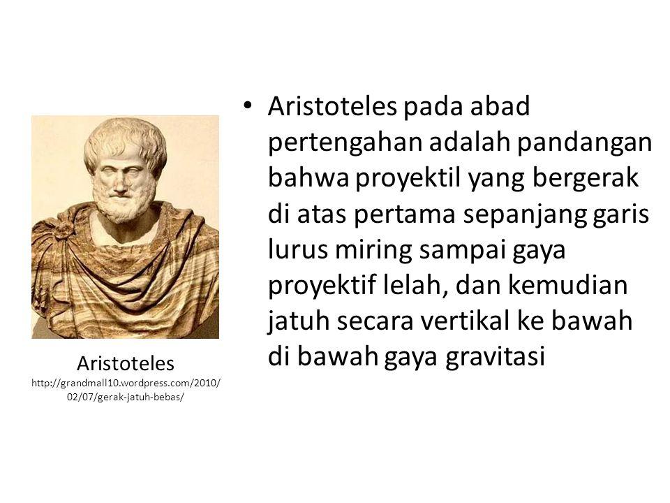 Aristoteles pada abad pertengahan adalah pandangan bahwa proyektil yang bergerak di atas pertama sepanjang garis lurus miring sampai gaya proyektif le