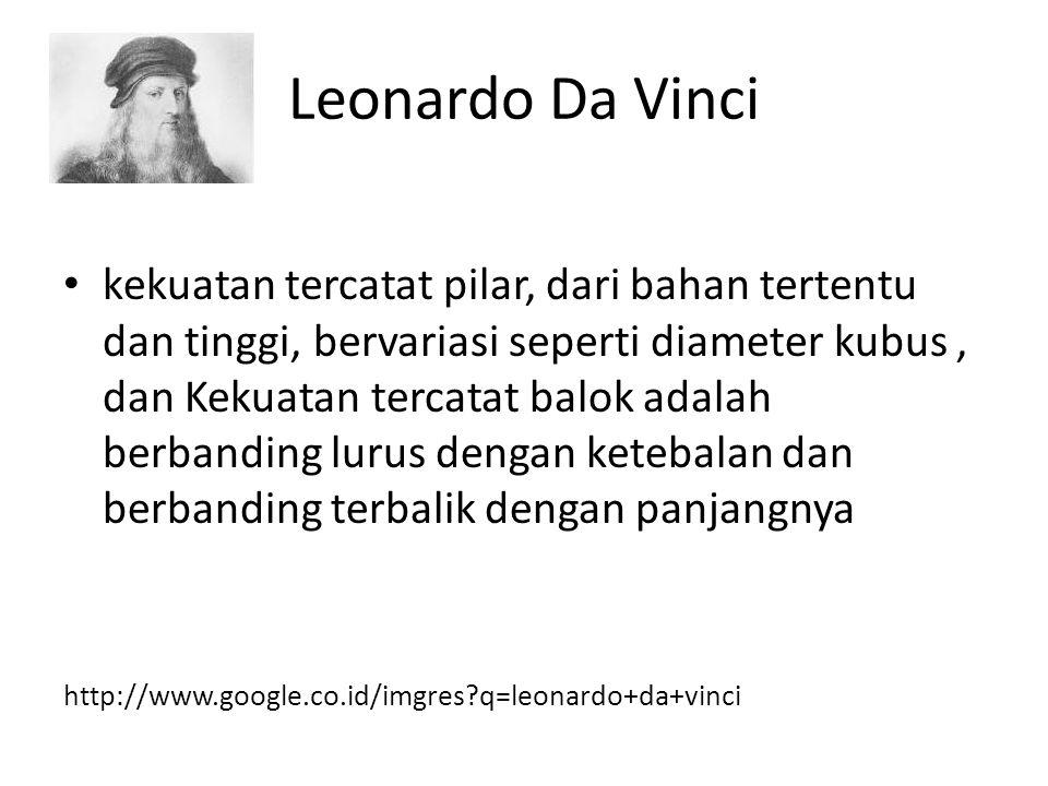 Leonardo Da Vinci kekuatan tercatat pilar, dari bahan tertentu dan tinggi, bervariasi seperti diameter kubus, dan Kekuatan tercatat balok adalah berba