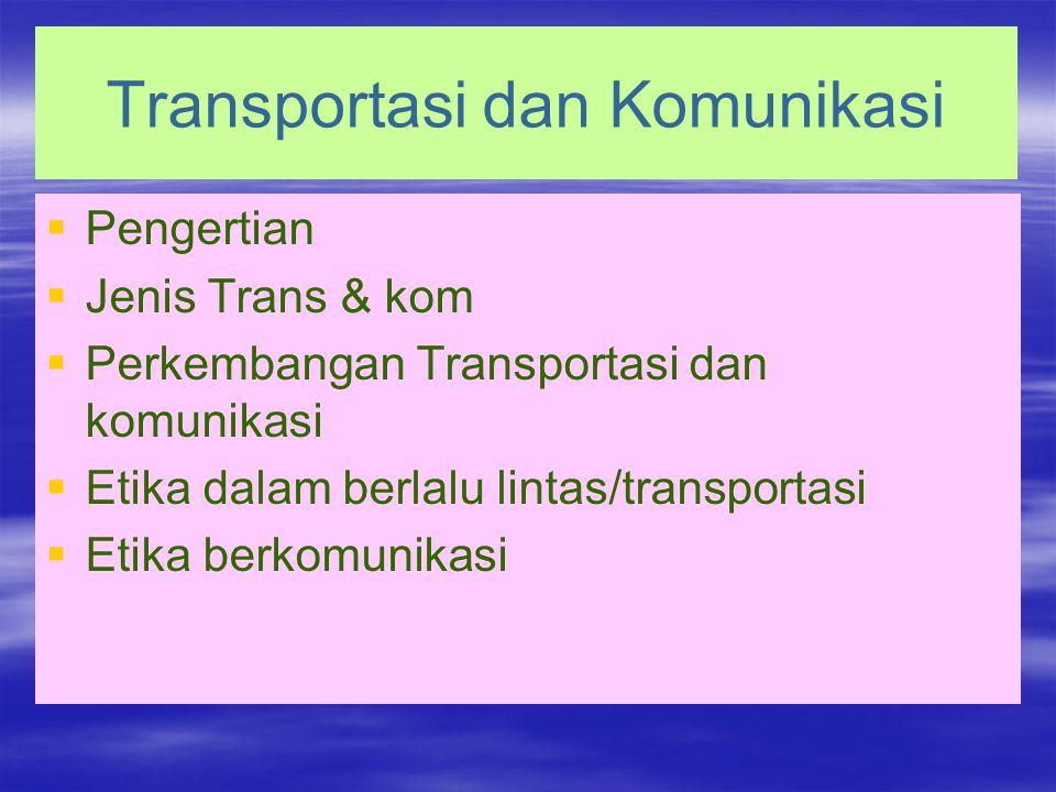 Transportasi dan Komunikasi   Pengertian   Jenis Trans & kom   Perkembangan Transportasi dan komunikasi   Etika dalam berlalu lintas/transportasi   Etika berkomunikasi