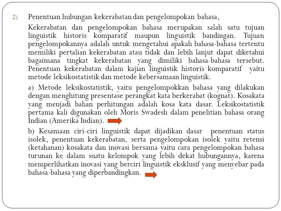 2) Penentuan hubungan kekerabatan dan pengelompokan bahasa, Kekerabatan dan pengelompokan bahasa merupakan salah satu tujuan linguistik historis kompa