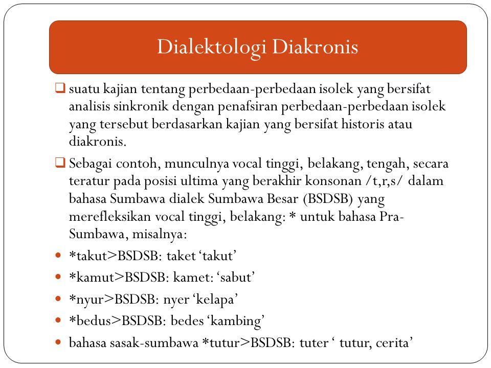  suatu kajian tentang perbedaan-perbedaan isolek yang bersifat analisis sinkronik dengan penafsiran perbedaan-perbedaan isolek yang tersebut berdasar