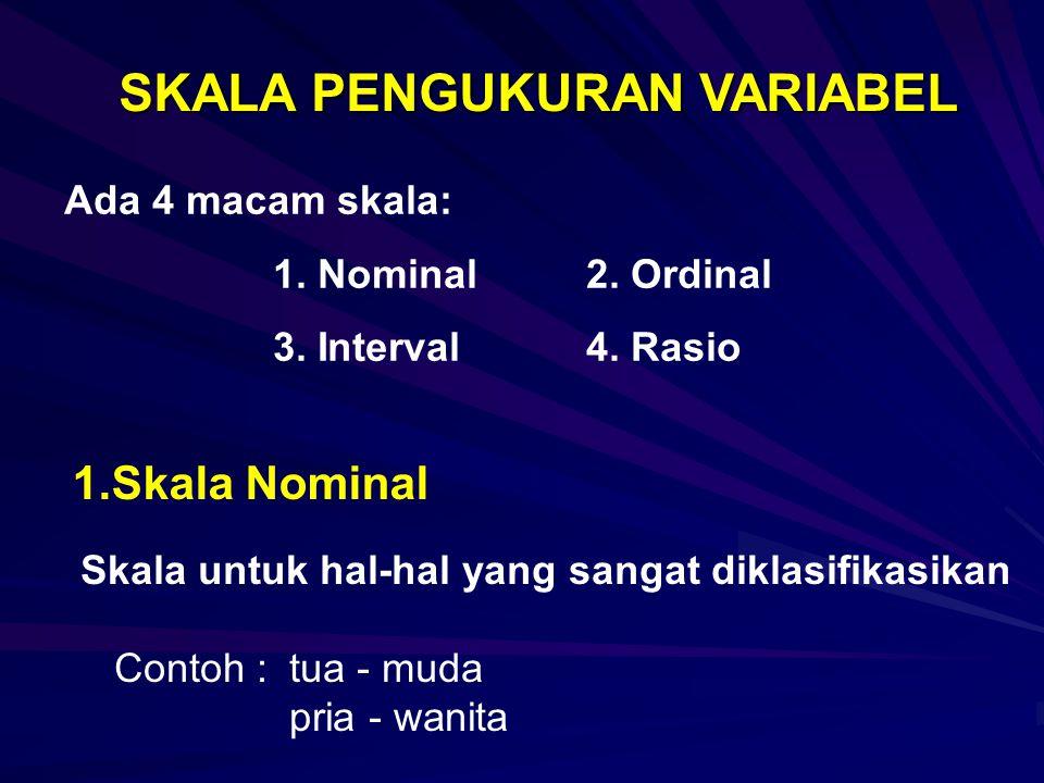 SKALA PENGUKURAN VARIABEL 1.Skala Nominal Skala untuk hal-hal yang sangat diklasifikasikan Contoh : tua - muda pria - wanita Ada 4 macam skala: 1.