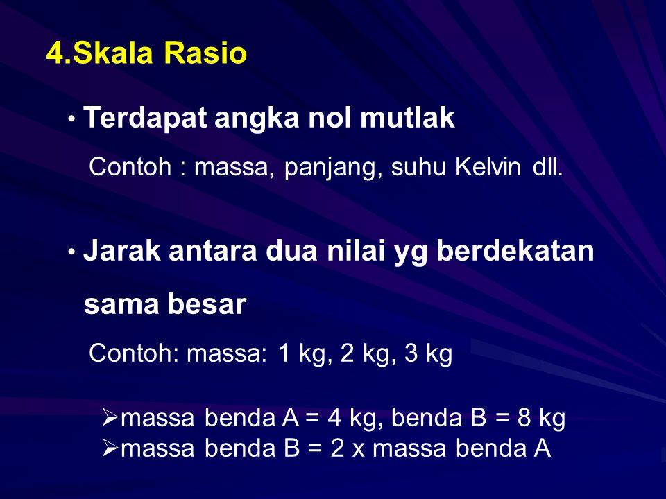4.Skala Rasio Terdapat angka nol mutlak Contoh : massa, panjang, suhu Kelvin dll. Jarak antara dua nilai yg berdekatan sama besar Contoh: massa: 1 kg,