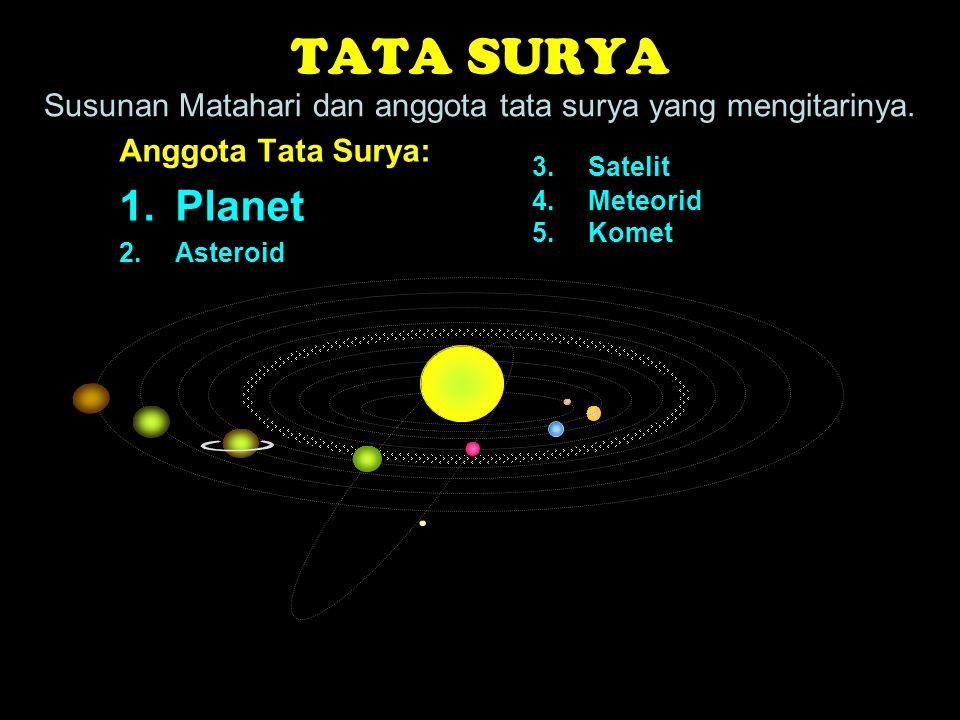 TATA SURYA Susunan Matahari dan anggota tata surya yang mengitarinya. Anggota Tata Surya: 1.Planet 2.Asteroid 3.Satelit 4.Meteorid 5.Komet