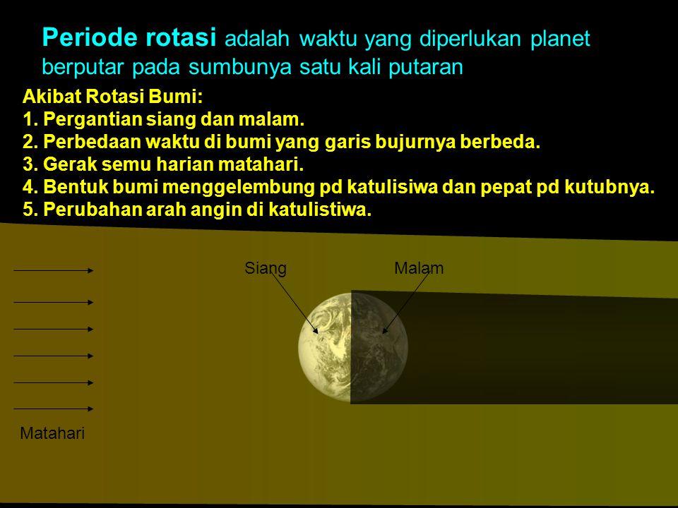 Akibat Rotasi Bumi: 1. Pergantian siang dan malam. 2. Perbedaan waktu di bumi yang garis bujurnya berbeda. 3. Gerak semu harian matahari. 4. Bentuk bu