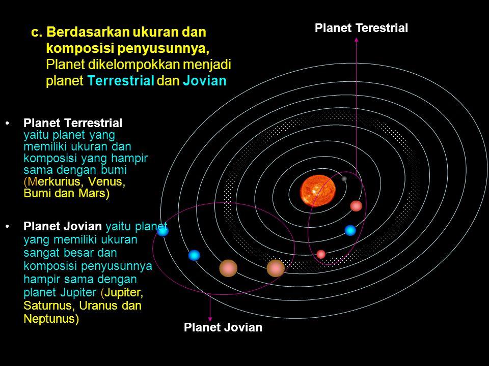 Planet Terestrial Planet Jovian c. Berdasarkan ukuran dan komposisi penyusunnya, Planet dikelompokkan menjadi planet Terrestrial dan Jovian Planet Ter