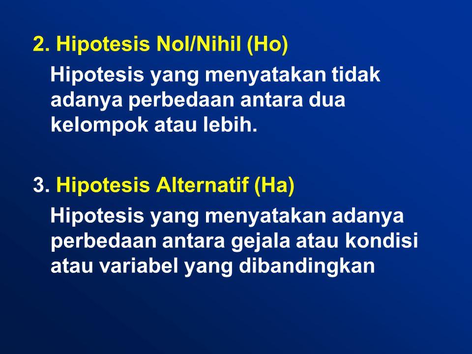 2. Hipotesis Nol/Nihil (Ho) Hipotesis yang menyatakan tidak adanya perbedaan antara dua kelompok atau lebih. 3. Hipotesis Alternatif (Ha) Hipotesis ya