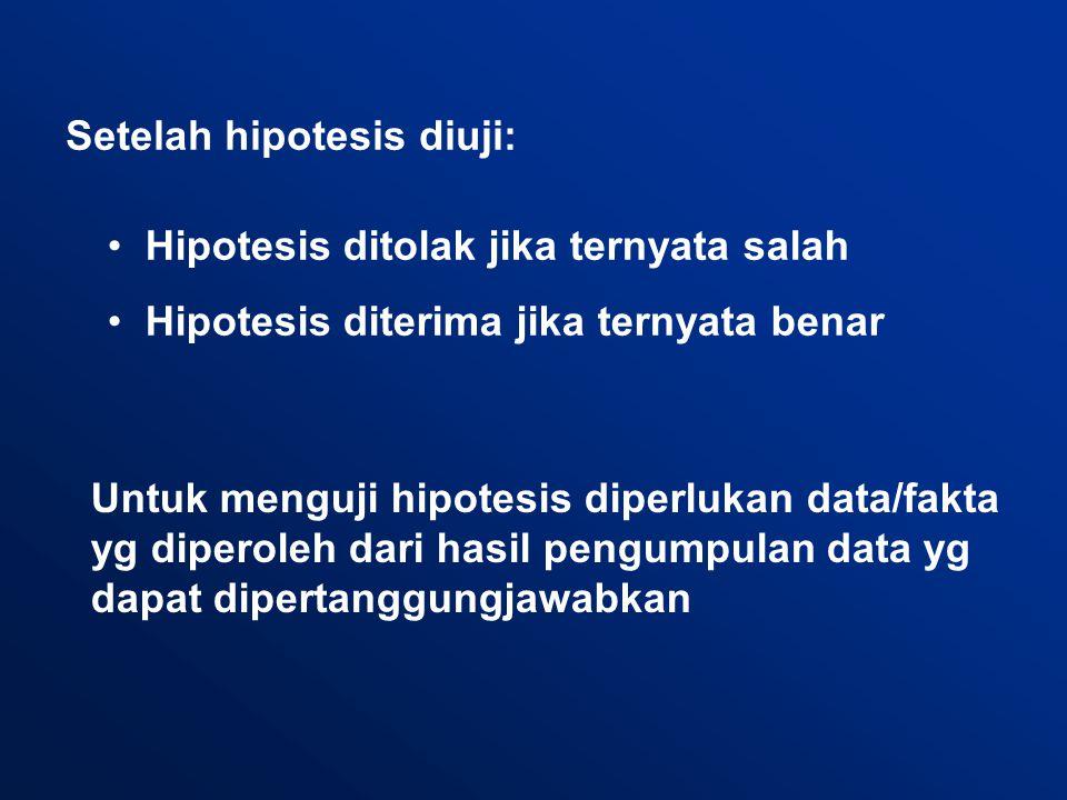 Setelah hipotesis diuji: Hipotesis ditolak jika ternyata salah Hipotesis diterima jika ternyata benar Untuk menguji hipotesis diperlukan data/fakta yg diperoleh dari hasil pengumpulan data yg dapat dipertanggungjawabkan