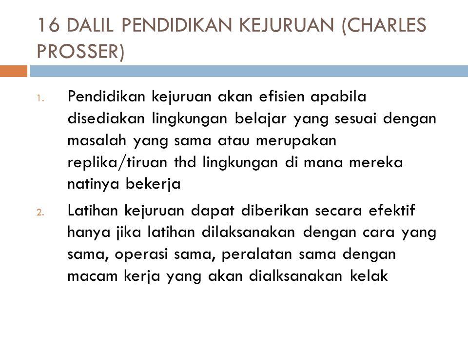 16 DALIL PENDIDIKAN KEJURUAN (CHARLES PROSSER) 1.