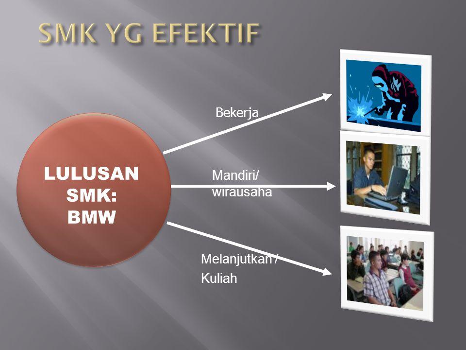 LULUSAN SMK: BMW Bekerja Mandiri/ wirausaha Melanjutkan / Kuliah