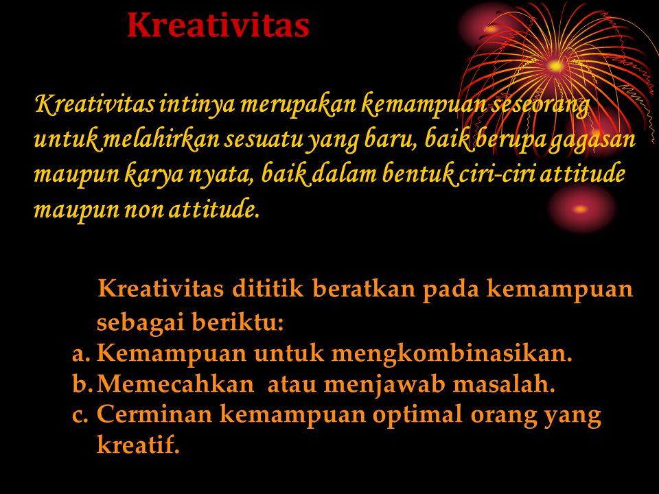 Kreativitas meluaskan wawasan 1. Pengertian Kreatif 2. Kreativitas Sebagai Multi Kecerdasan. 3. Delapan Kecerdasan Gardner. 4. Proses Kreatif 5. Ciri-