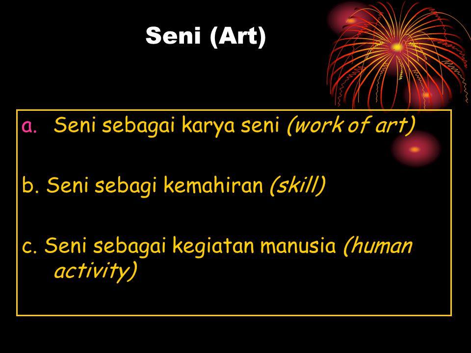 Seni (Art) Sansekerta: (pemujaan, pelayanan, donasi, pencarian dg hormat dan jujur) Sani Genie Belanda: (jenius ) Cilpa Versi lain (berwarna) Cilpasas