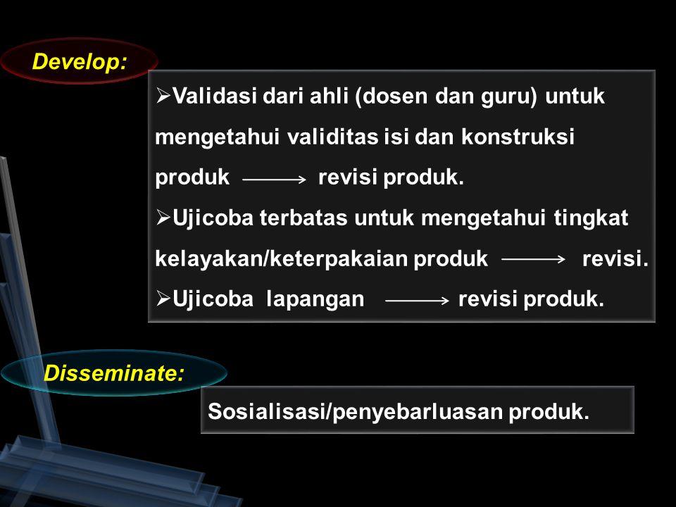 Develop: Disseminate:  Validasi dari ahli (dosen dan guru) untuk mengetahui validitas isi dan konstruksi produk revisi produk.  Ujicoba terbatas unt