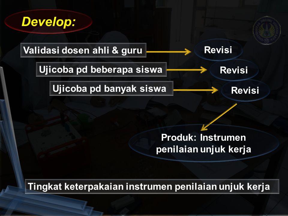 Validasi dosen ahli & guru Tingkat keterpakaian instrumen penilaian unjuk kerja Develop: Revisi Produk: Instrumen penilaian unjuk kerja Ujicoba pd beb