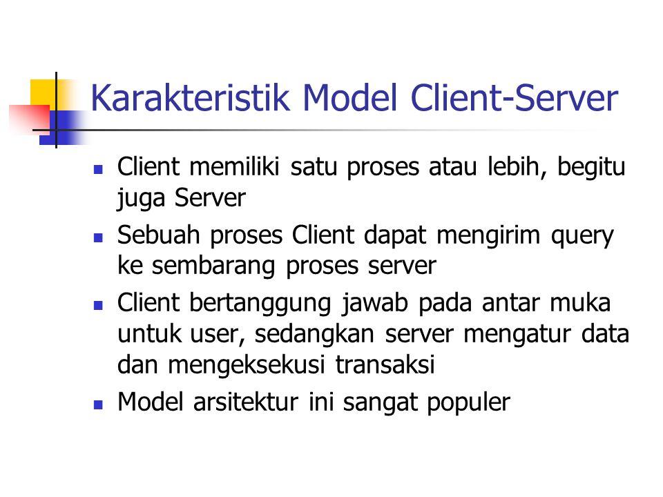 Karakteristik Model Client-Server Client memiliki satu proses atau lebih, begitu juga Server Sebuah proses Client dapat mengirim query ke sembarang pr