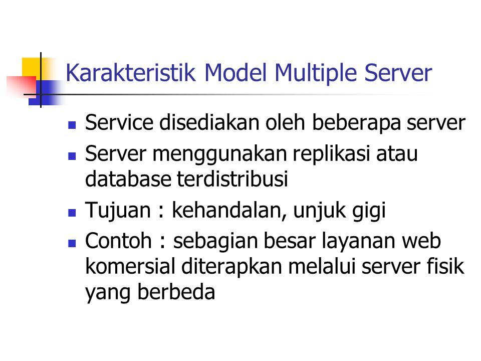Karakteristik Model Multiple Server Service disediakan oleh beberapa server Server menggunakan replikasi atau database terdistribusi Tujuan : kehandal